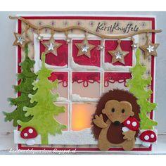 Craftables, fustella compatibile per big shot ecc, per tagliare e embossare tutti i tipi di carta, riproduce una finestra (con elementi per creare la neve).