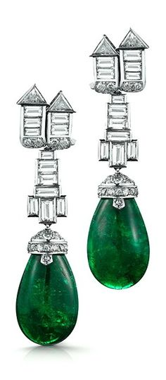 Art Deco emerald and diamond pendant earrings by the iconic Parisian designer Suzanna Belperron, who counted the Duchess of Windsor and Frank Sinatra among her star-studded clientele during the mid-twenthieth