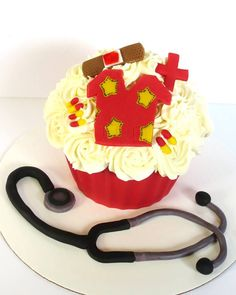 Nurse Themed Giant Cupcake.  Accessories all hand made.