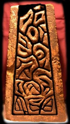 Photo enhancement of the carving sheds more light on the pattern and Balme wonders if this could be some form of writing.<br />