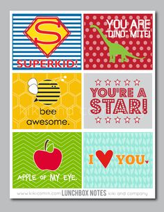 Free Lunchbox Notes for kids. Great to put in your kids lunch!