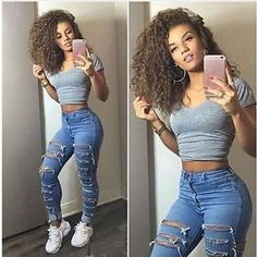 Women Pencil Stretch Casual Denim Skinny Pants High Waist Ripped Jeans Trousers