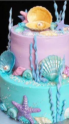 3 Year Old Birthday Cake, 7th Birthday Cakes, Barbie Birthday, Birthday Parties, Dolphin Birthday Cakes, Dolphin Cakes, Mermaid Birthday Cakes, Mermaid Cupcake Cake, Cupcake Cakes
