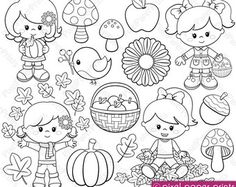 Happy Bugs Digital Stamps por pixelpaperprints en Etsy