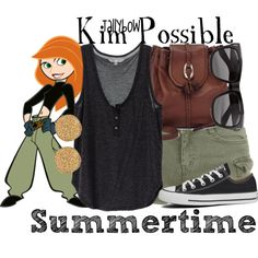 Kim Possible by tallybow on Polyvore featuring polyvore fashion style Converse Brighton Karen Kane Vero Moda