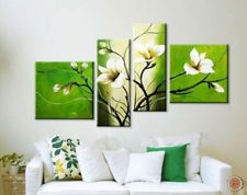 Handmade 4 piece canvas art green white decoration of orchids oil painting wall pictures for living room modern flower Pictures Abstract Canvas Art, Oil Painting On Canvas, Canvas Wall Art, Wall Painting Decor, Wall Art Decor, Multiple Canvas Paintings, Living Room Pictures, Wall Pictures, Flower Pictures