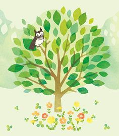 Tiny Owl - by Neuneu Tree Story, Owl Always Love You, Little Owl, Pattern Illustration, Tree Designs, Illustrations And Posters, Graphic Design, Design Web, My Arts