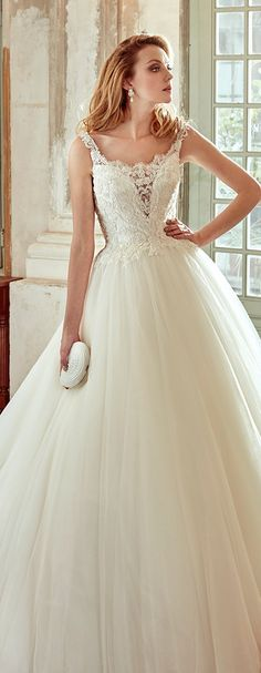 Nicole Ivory princess line dress, in tulle with rebrodè beading lace and chantilly lace. Nicole 2017 Collection - Wedding dress