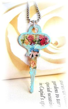 Decoupage Key Roses Floral Lady with Hat Shabby Chic Patina <3 Love decoupage idea on key