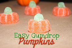 Easy Gumdrop Pumpkins with Orange Slice candy #Halloween #Recipes