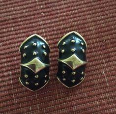 Signed E. Pearl Gold Tone With Black Enamel Pierced Vintage Erwin Pearl Earrings  | eBay