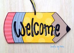 Welcome yellow pencil hand-painted hanging wood door hanger sign, teacher classroom office kids gift, back to school decoration Teacher Door Hangers, Teacher Doors, Teacher Signs, Teacher Stuff, Pencil Door Hanger, Canvas Door Hanger, Teacher Canvas, Painting Teacher, Welcome Wood Sign