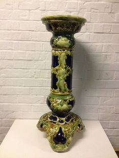 Antique European Likely English Majolica Pottery Plant Stand Jardiniere Pedestal