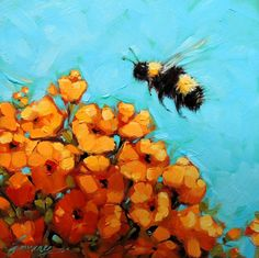 "6x6"" Bee Painting Original oil painting of a Bumblebee on by LaveryART www.etsy.com/shop/LaveryART"