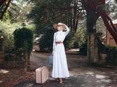 Diana Kotb modest dress with long sleeves. White dress reminds me of Katherine Herburn.