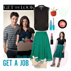 """""""Get the Look: Anna Kendrick in Get a Job"""" by polyvore-editorial ❤ liked on Polyvore featuring Sandro, Yumi, Belk & Co., Smashbox, Sole Society, jane, Maybelline, Dot & Bo, annakendrick and getajob"""