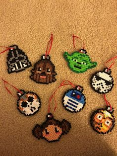 Items similar to Star Wars Ornaments - Perler Beads on Etsy Easy Perler Bead Patterns, Melty Bead Patterns, Perler Bead Templates, Diy Perler Beads, Perler Bead Art, Beading Patterns, Disney Hama Beads Pattern, Hama Beads Coasters, Pixel Art