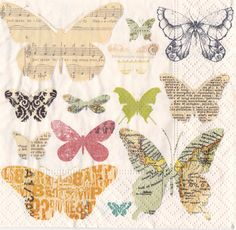 One pack(20)napkins Media butterflies cream for decoupage, decoupage under glass, mixed media, scrapbooking and other art and crafts door Dalilasdecoupage op Etsy