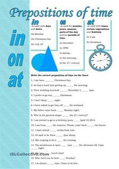 prepositions of time, plus many other warm-ups and activities