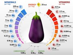 Vitamins and minerals of eggplant fruits. Infographics about nutrients in raw eggplant. Nutrition Chart, Nutrition Quotes, Nutrition Plans, Nutrition Tips, Health And Nutrition, Sports Nutrition, Science Nutrition, Avocado Nutrition, Fruit Nutrition