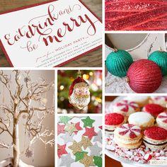 Glittery Christmas Party Inspiration. I love the red on white invitation! #smartpress