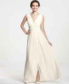 AT Petite Dresses - Petite Goddess V-Neck Wedding Dress