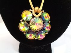 "Weiss Watermelon AB Rhinestone 3"" Pendant on a 18"" Silk Cord - $35.00  www.cccvintagejewelry.com This is a Great Price and Stunning! Have a great vintage day! Best, Coco"