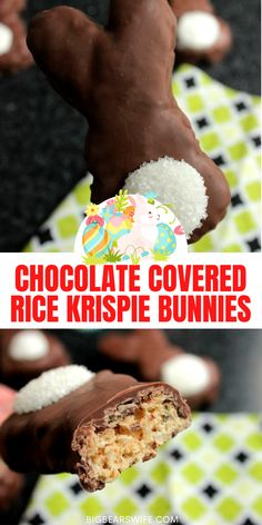 These Chocolate Covered Rice Krispie Bunnies are so easy to make and they're super cute for Easter Brunch or Lunch! Wrap them up in a little baggie with a cute bow and give them out to all of your friends! via @bigbearswife Cute Easter Desserts, Easy Easter Recipes, Easter Dinner Recipes, Easter Brunch, Easter Treats, Brunch Recipes, White Chocolate Candy, Chocolate Bunny, Melting Chocolate