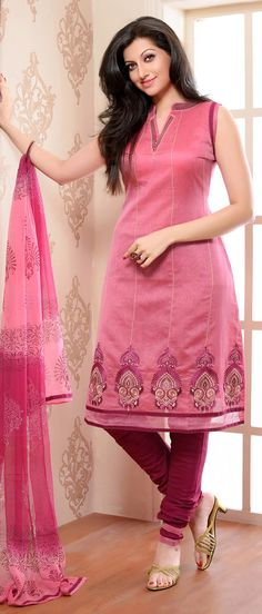 #Pink Chanderi #Silk Churidar Kameez With Dupatta	@ $ 62.50