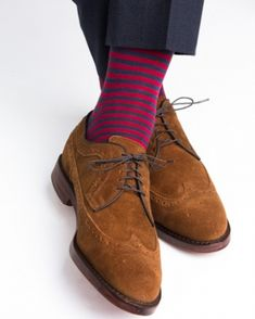 Dapper Classics Dress Navy with Burgundy Repeating Stripe Linked Toe Fine Merino Wool Sock