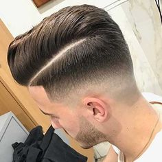 Pompadour with Hard Part - High Fade, Skin Fade, Fade Haircut, Low Skin Fade Haircut, Comb Over Fade Haircut, High And Tight Haircut, Fade Skin, Haircuts For Men, Men's Haircuts, Classic Hairstyles, Men's Hairstyles, Short Comb Over