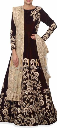 Buy this Wine gown enhanced in zardosi in floral motif only on Kalki