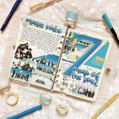 Bullet Journal Kpop, Bullet Journal Cover Ideas, Bullet Journal School, Bullet Journal Aesthetic, My Journal, Bullet Journal Inspiration, Bts, Scrapbook Journal, Studyblr