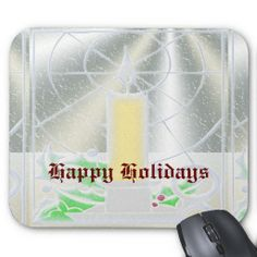 Candle In The Icy Window Happy Holidays Mouse Pads. http://www.zazzle.com/candle_in_the_icy_window_happy_holidays-144479980801610961?rf=238575087705003771