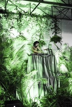 Garden of Eden Themed Greenery and Foliage Decorated DJ Booth. Event Themes, Event Decor, Party Themes, Theme Ideas, Ideas Party, Jungle Party, Jungle Theme, Bar Lounge, Stage Design