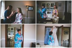 bride, mother of the bride and bridesmaids all in matching oriental-style floral robes