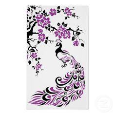 Black, purple peacock and cherry blossoms... Would love this for a tattoo...