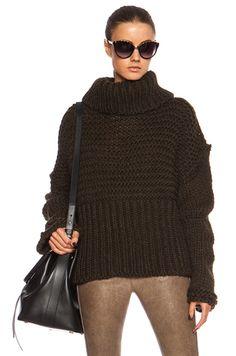 Acne Studios|Gaja Main Oversized Wool Sweater in Dark Green