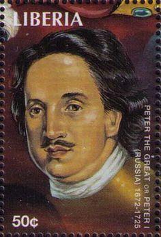 Afbeelding van Peter de Grote op een postzegel uit Liberië.