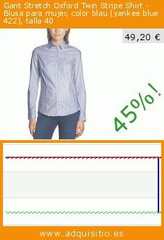 Gant Stretch Oxford Twin Stripe Shirt - Blusa para mujer, color blau (yankee blue 422), talla 40 (Ropa). Baja 45%! Precio actual 49,20 €, el precio anterior fue de 89,95 €. https://www.adquisitio.es/gant/stretch-oxford-twin-1