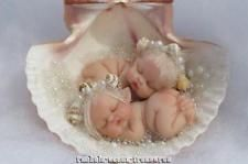 OOAK POLYMER CLAY BABY GIRL SEA ELF TWINS IN REAL SHELL MERMAID FANTASY BY ~RAE~