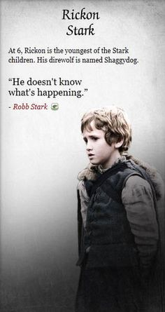 I disagree with Robb; Rickon knows exactly what is going on and he is angry!