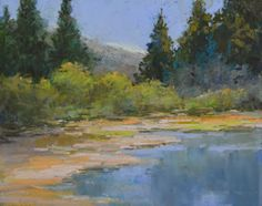 "Contemporary Artists of Colorado: ""Calm Waters"" Original Colorado Mountain, Stream Landscape Oil Painting by by Western Colorado Artist Barb..."