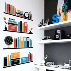 My Bookshelf Wall Sticker, 33€,  by Vinylize !!
