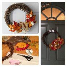 Fall wreath. DIY Fall decor. Dollar store wreath, dollar store fall leaves, dollar store ribbon. $3 total. I had my glue gun to put together.   Inspiration, materials and final product on my door ~Shaynae~