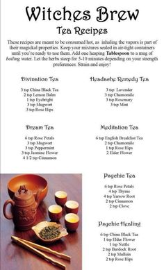 ☆ Witches Brew Tea Recipes ☆ finally a use for my tea sets! British Desserts, Wiccan Spells, Magick, Green Witchcraft, Potions Recipes, Wicca Recipes, Dream Tea, Witch Herbs, Kitchen Witchery