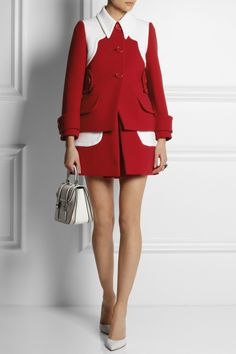 Miu Miu | Color-block wool-twill mini skirt | NET-A-PORTER.COM