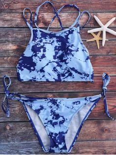 $19.49 Tie Dye High Neck Tie Side Bikini Set - LIGHT BLUE L