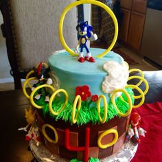 Sonic themed Happy Birthday Cake