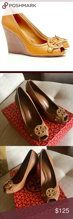 Tory Burch Leticia Wedge Tory Burch Leticia Wedge. ONLY WORN ONCE!! Size 6.5. Royal Tan color. Comes in box. Tory Burch Shoes Wedges